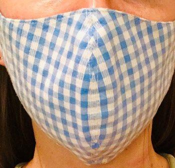 Mundschutz- Maske weiß/blau