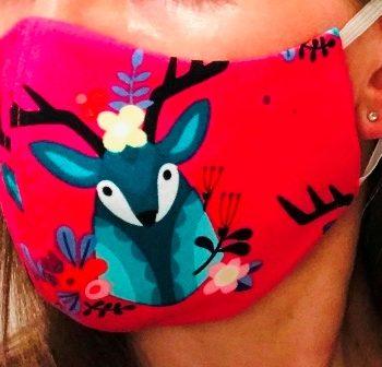 Mundschutz-Maske pink mit Hirsch, Mittelnaht